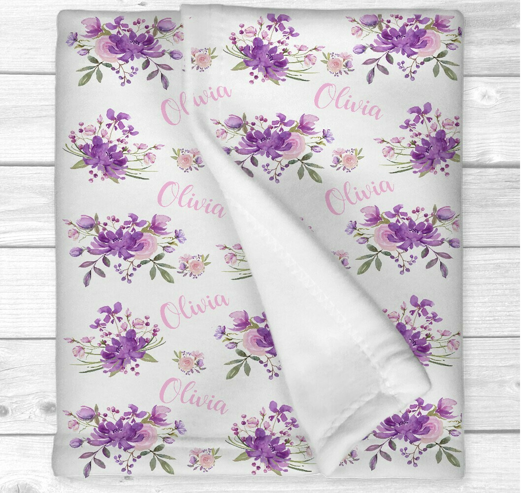 Personalized Baby Girl Blanket Purple Pink Floral Baby Blanket Flower Crib Bedding New Baby Shower Gift