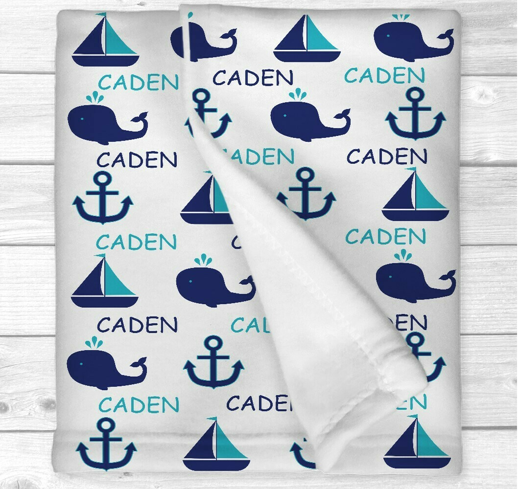 Personalized Baby Boy Blanket Blue Teal Nautical Baby Nursery Newborn Blanket Nursery Crib Bedding New Baby Shower Gift