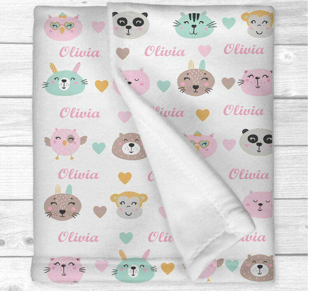 Personalized Baby Girl Blanket Cute Animals Pink Mint Baby Nursery Newborn Blanket Nursery Crib Bedding New Baby Shower Gift