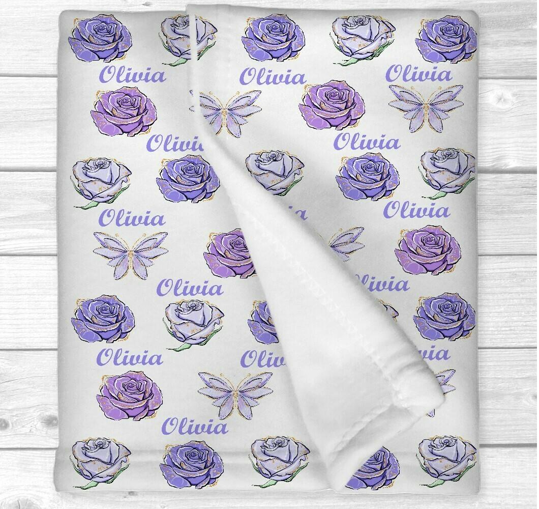 Personalized Baby Girl Blanket Purple Floral Butterflies Baby Nursery Newborn Blanket Nursery Crib Bedding New Baby Shower Gift