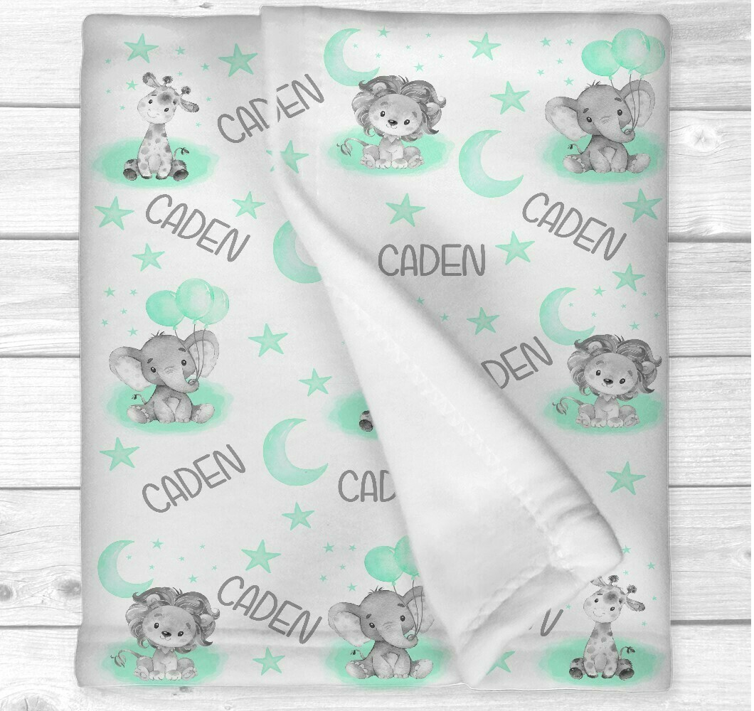 Personalized Baby Nursery Blanket Mint Safari Animals Baby Nursery Crib Bedding New Baby Shower Gift Gender Neutral