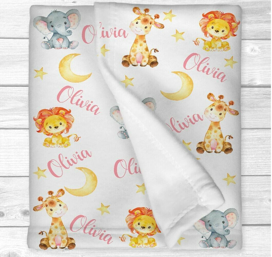 Personalized Safari Animals Baby Girl Blanket Elephant Giraffe Lion Nursery Bedding New Baby Shower Gift