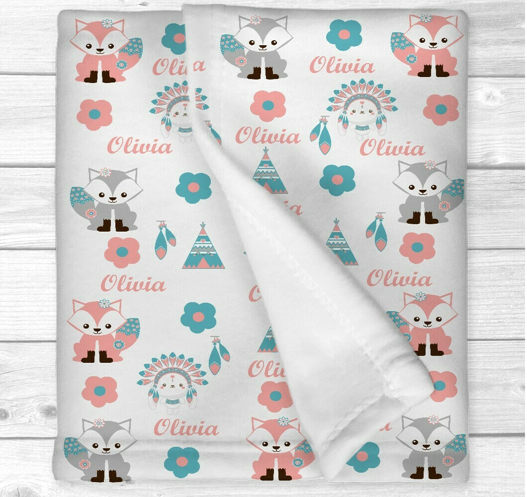 Personalized Baby Girl Blanket Boho Baby Blanket Tribal Fox Nursery Newborn Blanket Nursery Crib Bedding New Baby Shower Gift