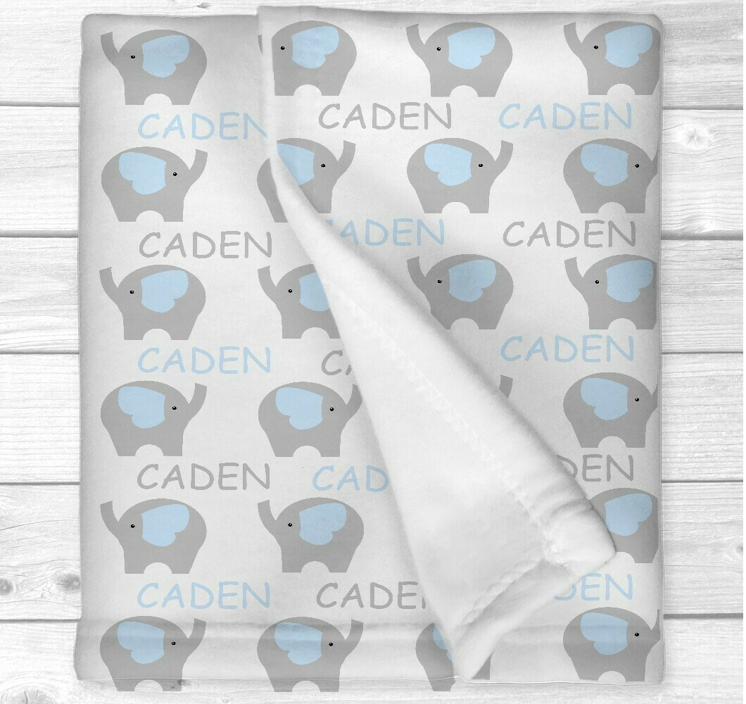 Personalized Baby Boy Blanket Blue Elephant Baby Nursery Newborn Blanket Nursery Crib Bedding New Baby Shower Gift