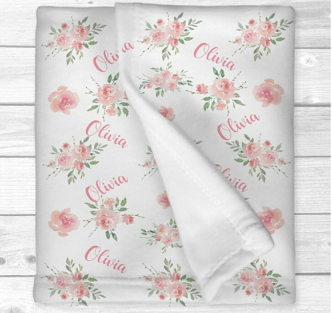Personalized Baby Girl Blanket Pink Watercolor Floral Baby BlanketvFlowers Girl Nursery Bedding New Baby Gift
