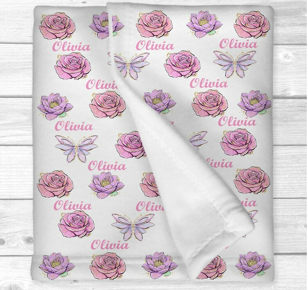 Personalized Baby Girl Blanket Pink Floral Butterflies Baby Nursery Newborn Blanket Nursery Crib Bedding New Baby Shower Gift