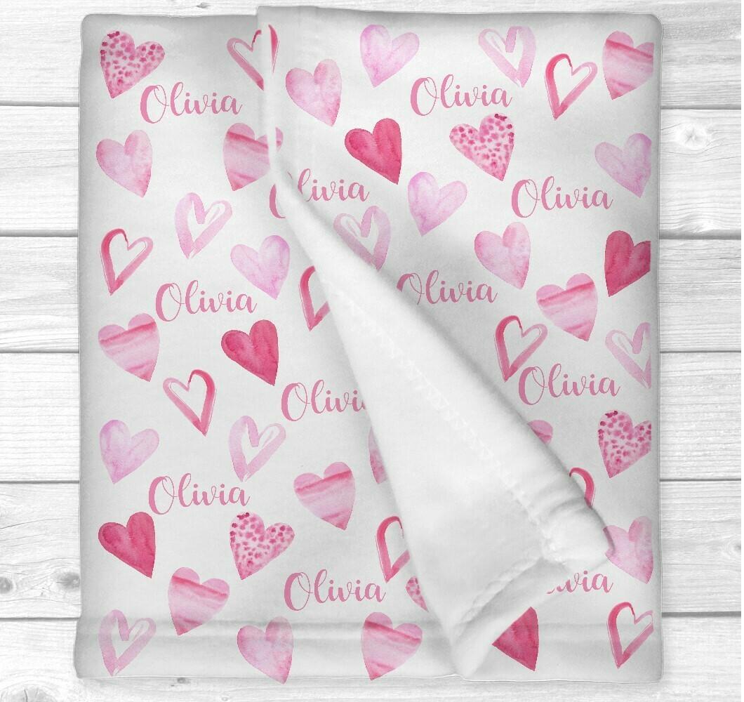 Personalized Baby Girl Blanket Pink Love Hearts Nursery Newborn Blanket Nursery Crib Bedding New Baby Shower Gift
