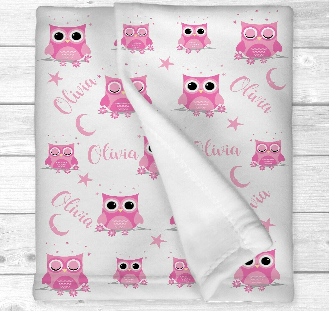 Personalized Baby Girl Blanket Pink Owls Baby Blanket Owl Crib Bedding New Baby Shower Gift