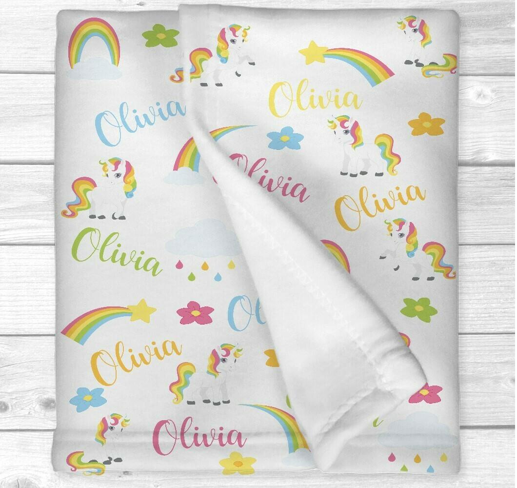 Personalized Baby Girl Blanket Unicorn Baby Blanket Crib Bedding New Baby Shower Gift