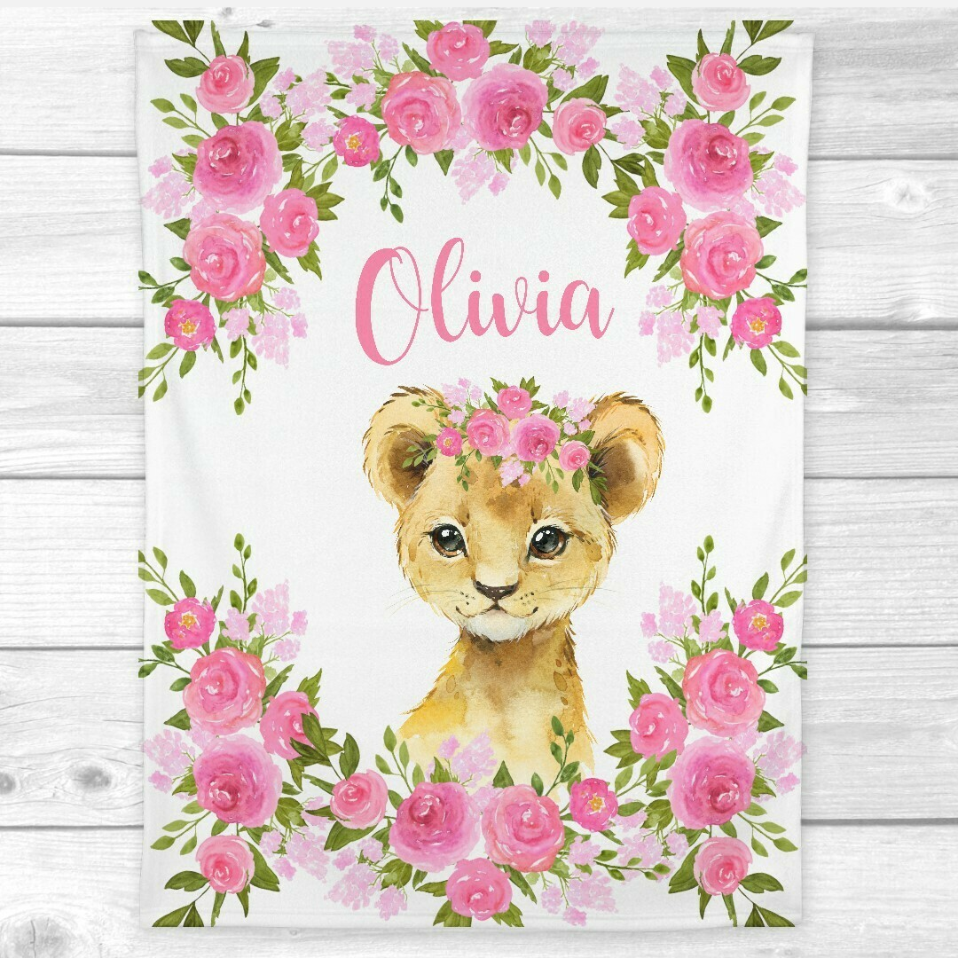 Personalized Baby Girl Blanket Lion Cub Pink Floral Safari Animal Nursery Blanket Minky Fleece Blankets Nursery Decor New Baby Shower Gift