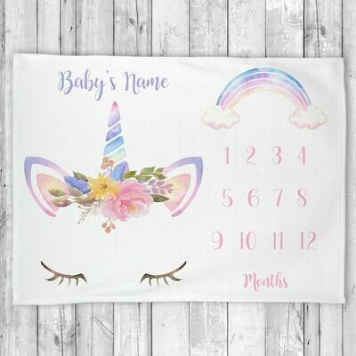 Monthly Milestone Baby Girl Blanket Personalized Unicorn Baby Blanket New Baby Shower Gift