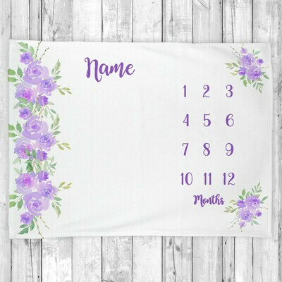 Monthly Milestone Baby Girl Blanket Personalized Purple Floral Baby Blanket New Baby Shower Gift Baby Photo Op Backdrop