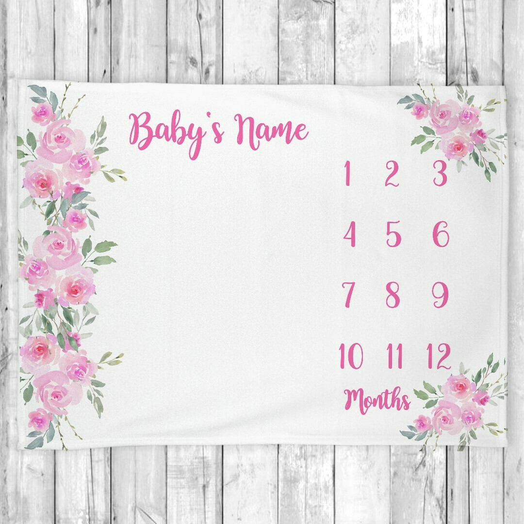 Monthly Milestone Baby Girl Blanket Personalized Pink Floral Baby Blanket New Baby Shower Gift Baby Photo Op Backdrop