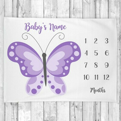 Butterfly Baby Girl Blanket Personalized Milestone Baby Blanket Butterfly Wings New Baby Shower Gift Baby Photo Op Backdrop