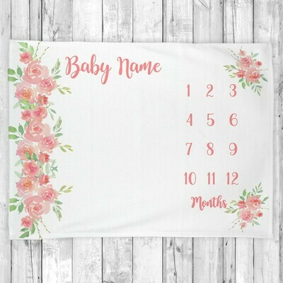 Monthly Milestone Baby Girl Blanket Personalized Coral Floral Baby Blanket New Baby Shower Gift Baby Photo Op Backdrop
