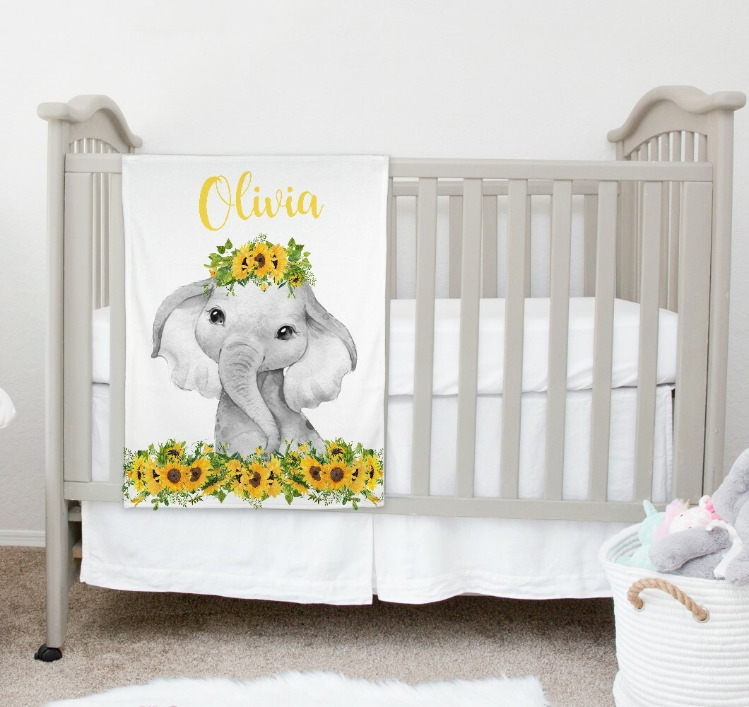 Personalized Baby Girl Blanket Elephant Sunflowers Floral Nursery Decor New  Baby Shower Gift