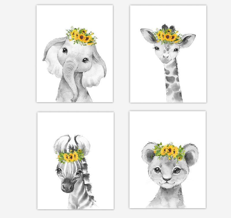 Safari Animals Baby Girl Nursery Wall Art Decor Sunflowers Floral Elephant Giraffe Lion Zebra 4 UNFRAMED PRINTS or CANVAS