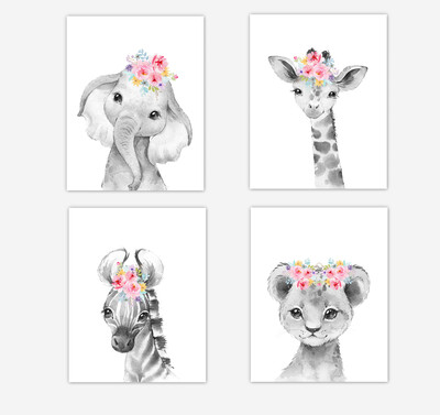 Safari Animals Baby Girl Nursery Wall Art Decor Pink Purple Yellow Floral Elephant Giraffe Lion Zebra 4 UNFRAMED PRINTS or CANVAS