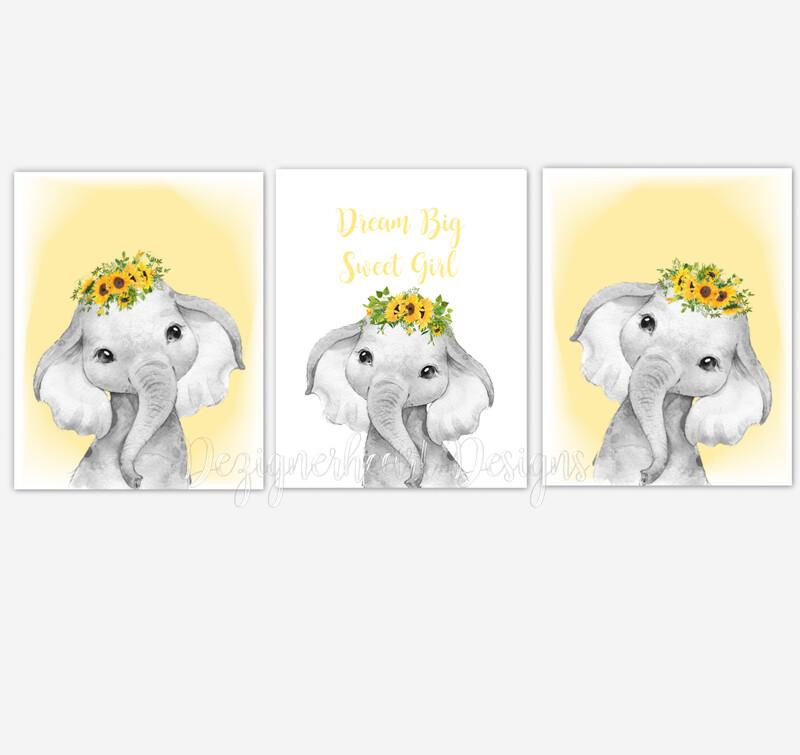 Safari Animals Elephants Baby Girl Nursery Wall Art Decor Sunflowers Floral SET OF 3 UNFRAMED PRINTS or CANVAS