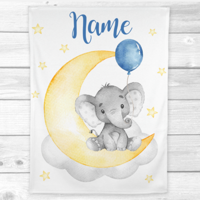 Personalized Baby Boy Blanket Blue Yellow Elephant Baby Nursery Decor Shower Gift