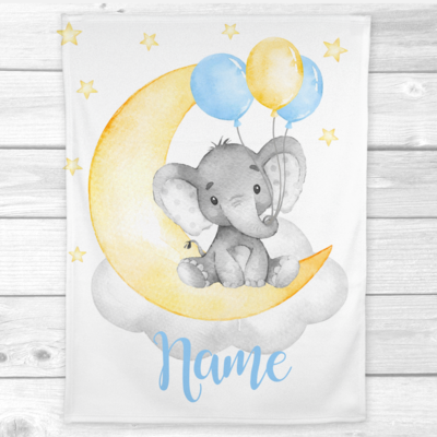Baby Boy Blanket Personalized Blue Yellow Elephant Baby Nursery Decor Baby Shower Gift