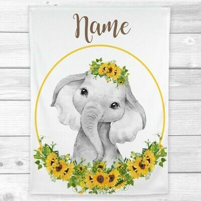 Sunflower Elephant Baby Girl Blanket Personalized Baby Nursery Decor Shower Gift