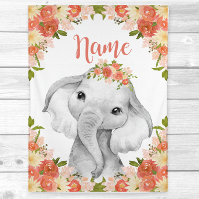 Personalized Baby Girl Blanket Coral Yellow Elephant Baby Nursery Decor Shower Gift