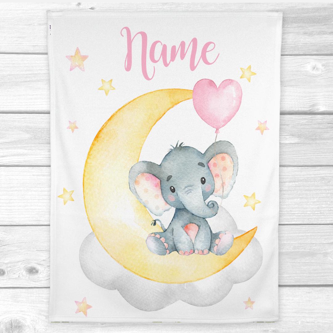 Personalized Baby Girl Blanket Pink Yellow Elephant Baby Nursery Decor Shower Gift