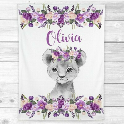 Personalized Baby Girl Blanket Purple Floral Crown Lion Cub Baby Nursery Decor Shower Gift