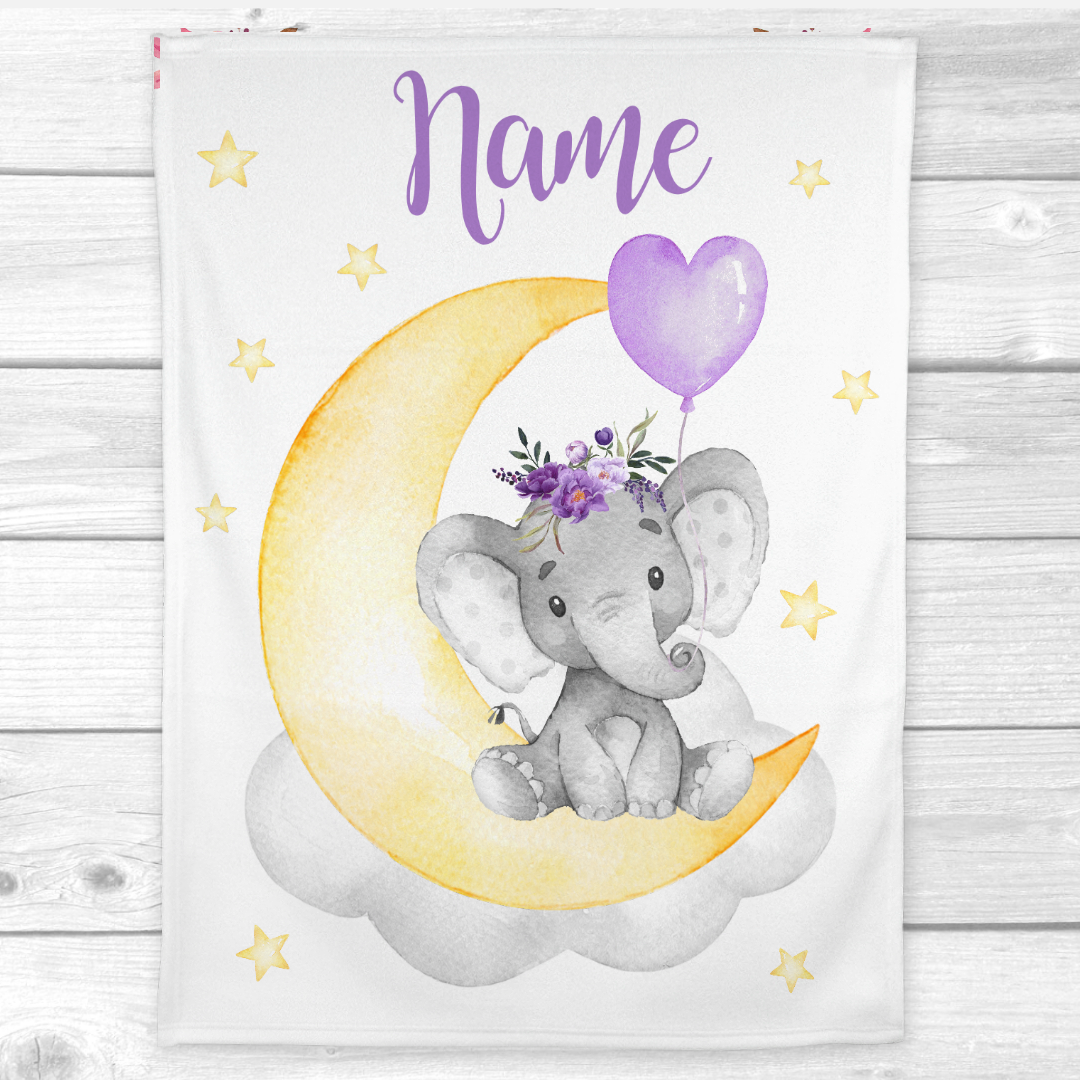 Personalized Baby Girl Blanket Purple Floral Crown Elephant Baby Nursery Decor Shower Gift