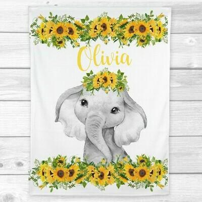 Personalized Baby Girl Blanket Sunflowers Floral Crown Elephant Baby Nursery Decor Shower Gift