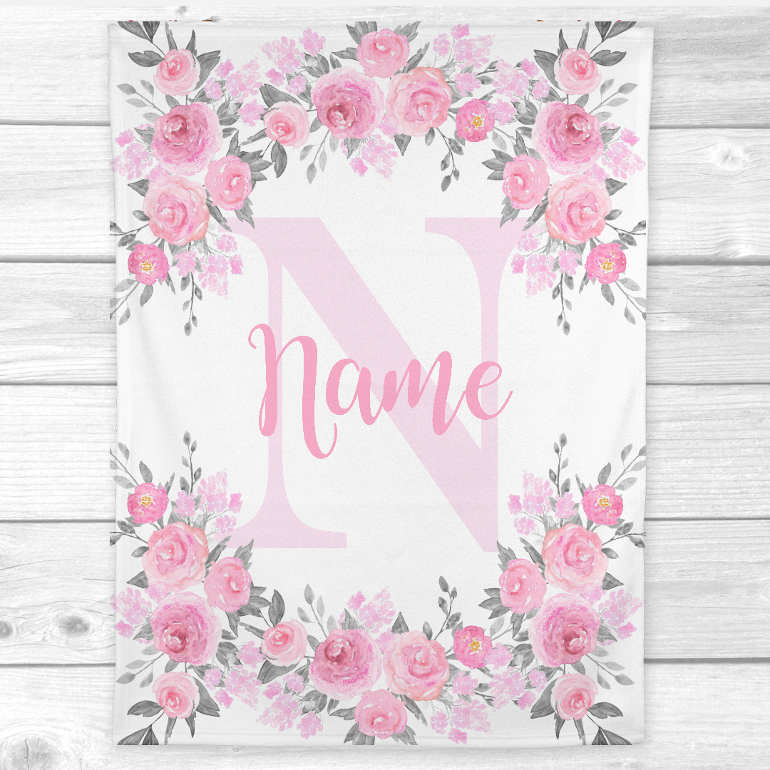 Pink Floral Baby Girl Blanket Personalized Baby Nursery Decor Shower Gift
