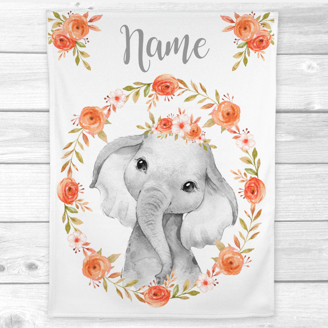 Personalized Baby Girl Blanket Coral Floral Crown Elephant Baby Nursery Decor Shower Gift