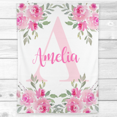 Personalized Baby Girl Blanket Pink Floral Roses Baby Nursery Decor Shower Gift