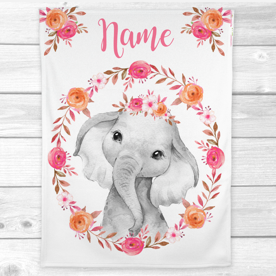 Personalized Baby Girl Blanket Pink Coral Floral Crown Elephant Baby Nursery Decor Shower Gift