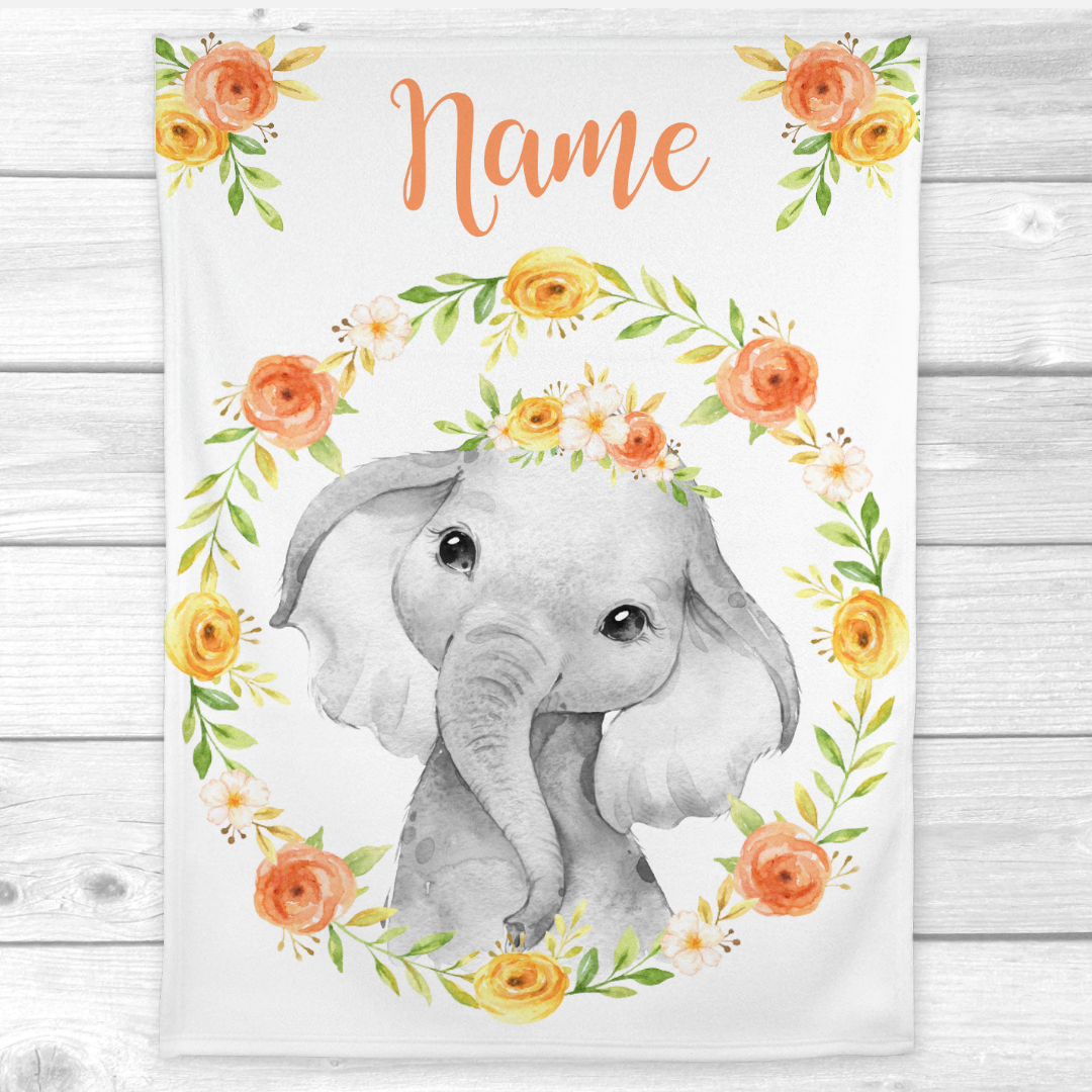 Personalized Baby Girl Blanket Coral Yellow Floral Crown Elephant Baby Nursery Decor Shower Gift