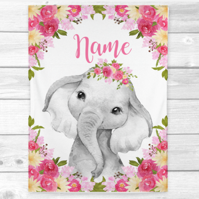 Personalized Baby Girl Blanket Pink Yellow Elephant Baby Nursery Decor Shower Gift