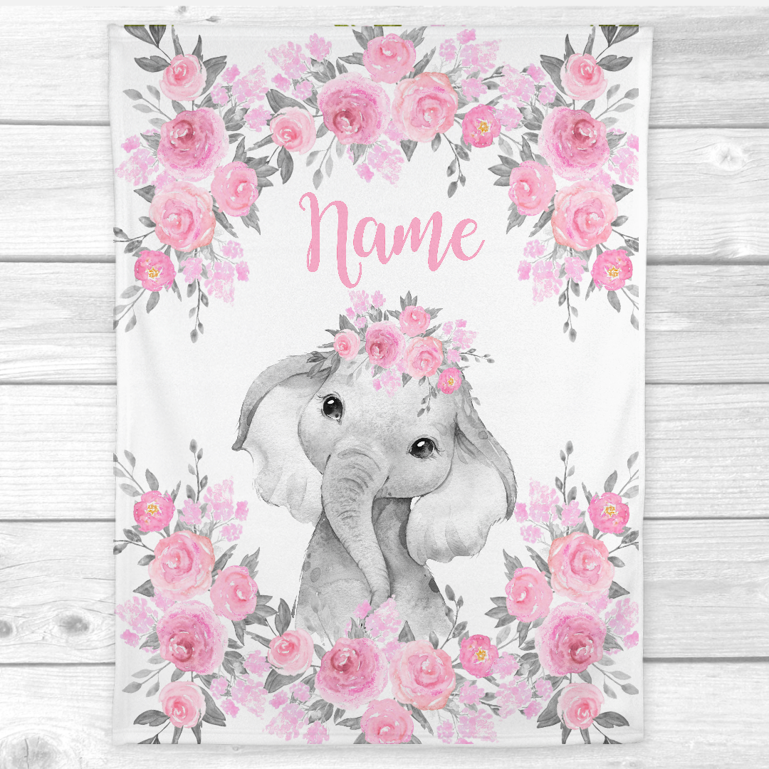 Personalized Baby Girl Blanket Pink Floral Crown Elephant Baby Nursery Decor Shower Gift