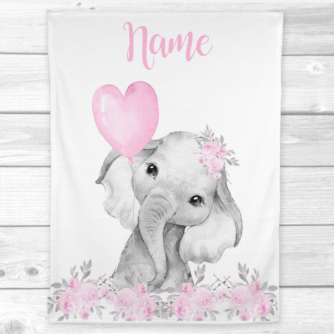 Personalized Baby Girl Blanket Pink Elephant Baby Nursery Decor Shower Gift