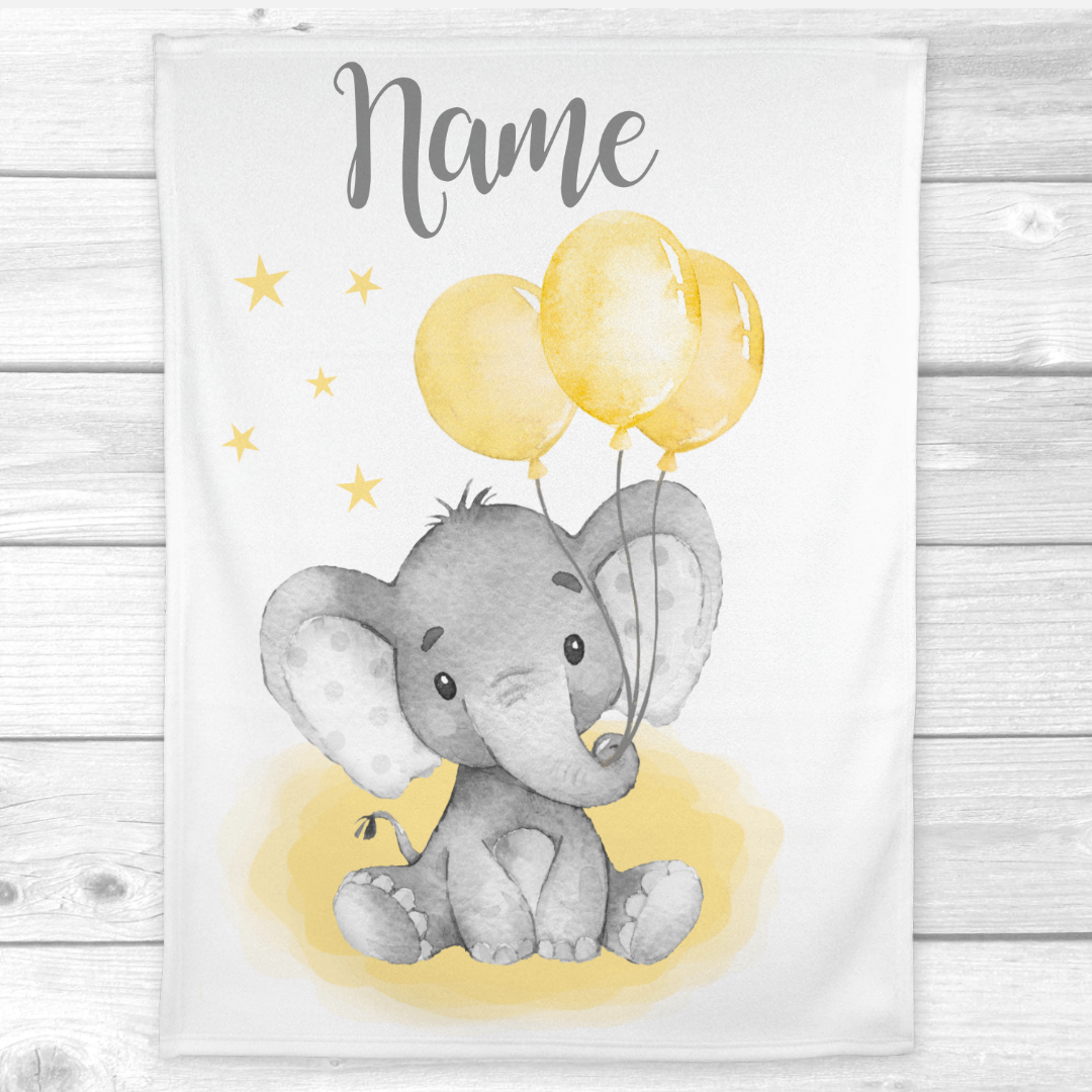 Personalized Baby Blanket Yellow Elephant Gender Neutral Baby Nursery Decor Shower Gift