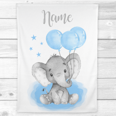 Personalized Baby Boy Blanket Blue Elephant Balloons Baby Nursery Decor Shower Gift