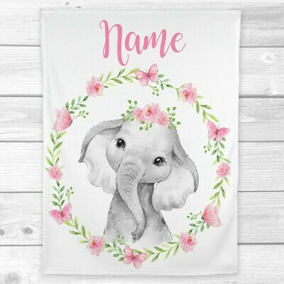 Baby Girl Blanket Personalized Elephant Butterfly Floral Wreath Minky Fleece Blankets Nursery Decor New Baby Shower Gift