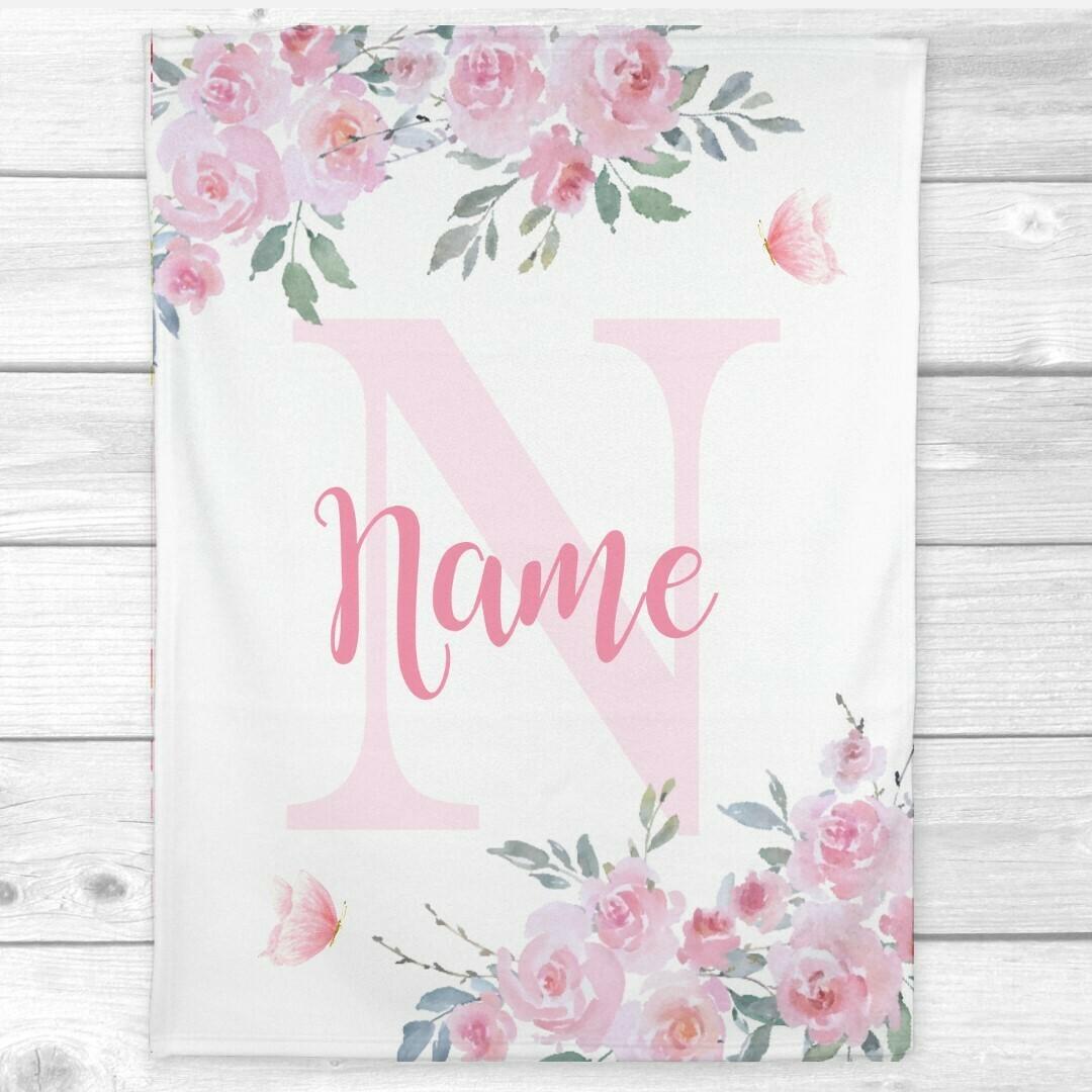 Baby Girl Blanket Personalized Pink Floral Butterflies Minky Fleece Blankets Nursery Decor New Baby Shower Gift