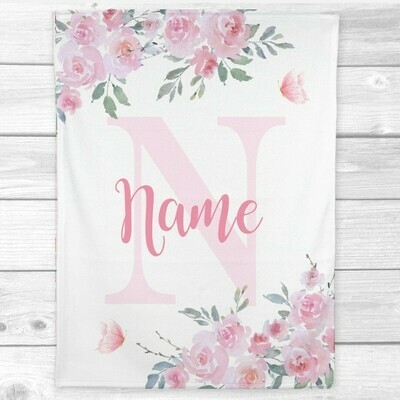 Baby Girl Blanket Personalized Pink Floral Butterflies Minky Fleece Blankets Nursery Decor New Baby Shower Gift