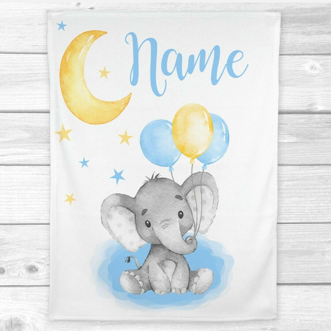 Baby Boy Blanket Personalized Blue Yellow Elephant Baby Nursery Decor Baby Shower Gift