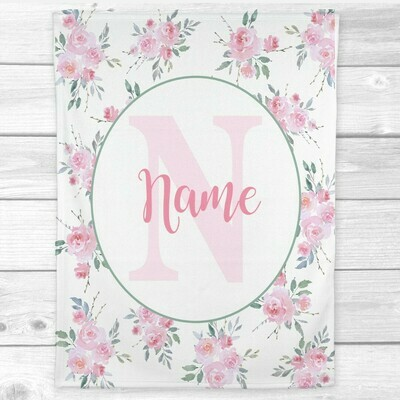 Baby Girl Blanket Personalized Pink Floral Minky Fleece Blankets Nursery Decor New Baby Shower Gift
