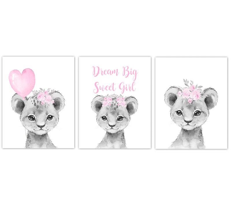 Safari Animal Baby Girl Nursery Wall Art Decor Pink Floral Crown Baby Lion Prints SET OF 3 UNFRAMED PRINTS or CANVAS