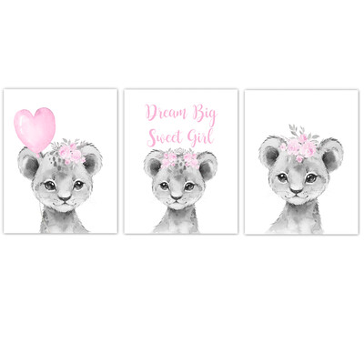 Safari Animal Baby Girl Nursery Wall Art Decor Pink Floral Crown Baby Lion Prints SET OF 3 UNFRAMED PRINTS or CANVAS
