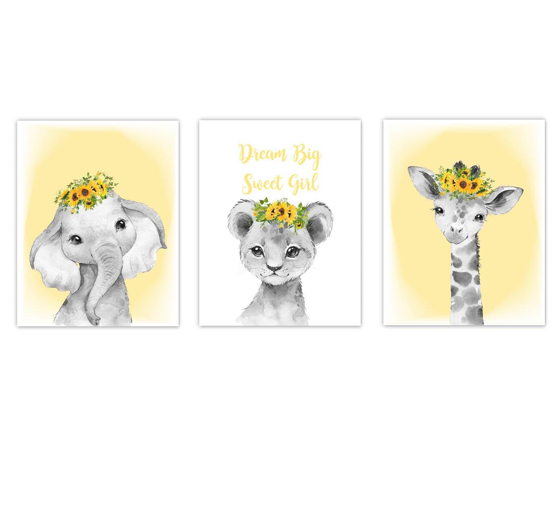 Safari Animals Baby Girl Nursery Wall Art Decor Sunflowers Floral Elephant Giraffe Lion SET OF 3 UNFRAMED PRINTS or CANVAS