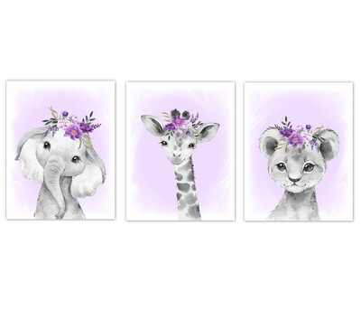 Safari Animal Baby Girl Nursery Wall Art Decor Purple Floral Crown Elephant Giraffe Lion Prints SET OF 3 UNFRAMED PRINTS or CANVAS